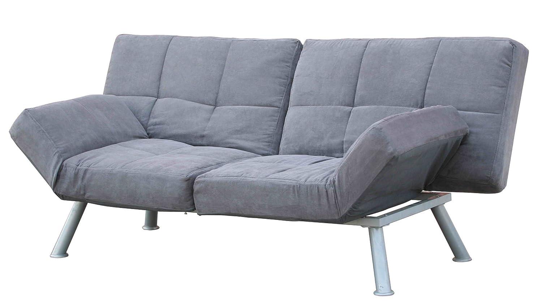amazoncom dhp kaila sofa sleeper convertible futon bed with  - amazoncom dhp kaila sofa sleeper convertible futon bed with adjustablearmrests slanted metal legs and splitback  charcoal kitchen  dining