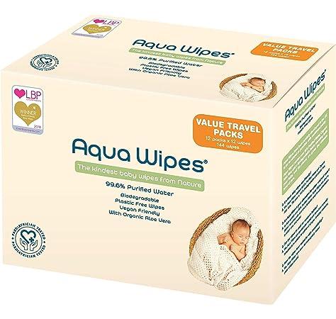 Toallitas húmedas Aqua Wipes, (12 x 12 toallitas de viaje (144 ...