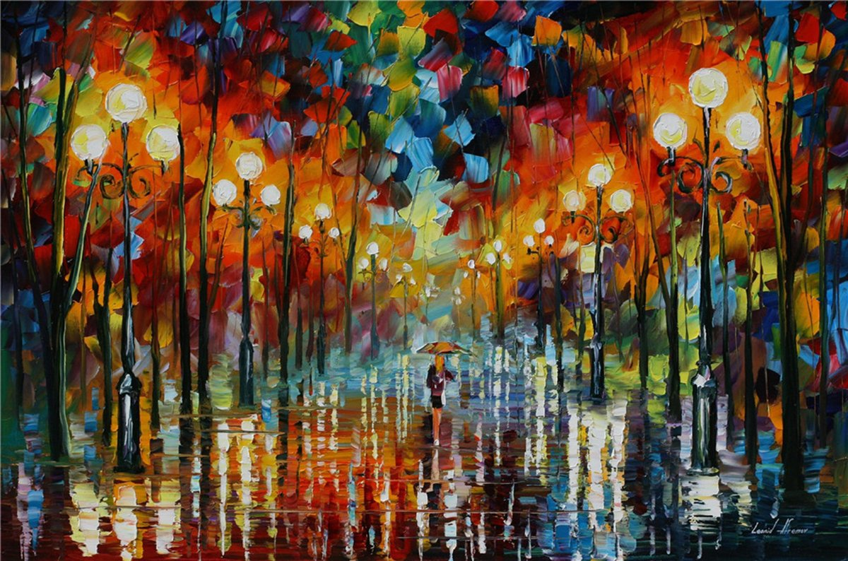 100% Hand Painted Oil Paintings Decor Abstract Modern Painting Rainy Day Home Wall Decoration (24X36 Inch, Home Decor 3) by Bingo Arts