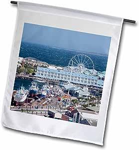 Danita Delimont - Ports - South Africa, CapeTown, Port, ferris wheel-AF42 CMI0132 - Cindy Miller Hopkins - 18 x 27 inch Garden Flag (fl_74431_2)