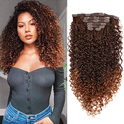 BHF 26 inch Kinky Curly Clip In Hair Extensions 140g Double Weft Curly Wave Clips in on Synthetic Hair Extensions Hair pieces for Women 7pieces (#MT4/30)