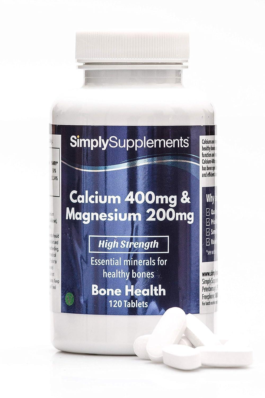 Calcio 400 mg y Magnesio 200 mg - 120 comprimidos - 2 meses de suministro - Huesos, uñas y dientes sanos - SimplySupplements