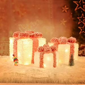 XUEYU Lighted Gift Boxes, Set of 3 Outdoor Christmas Decorations, Rustic 60 LED Light Up Presents Boxes, Plug-in Home Decor (Warm White-B)
