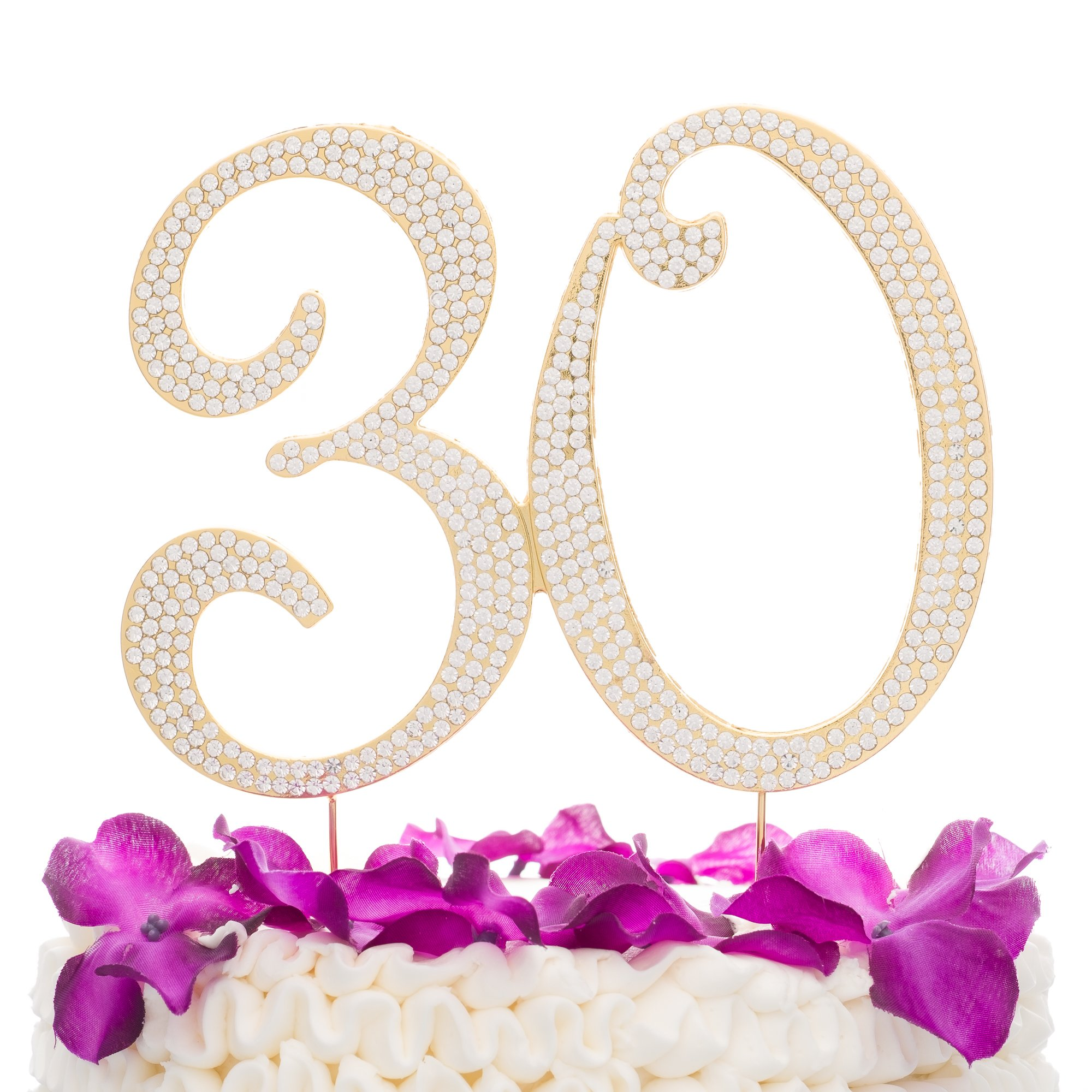 Ella Celebration 30 Cake Topper for 30th Birthday or Anniversary Gold Party Supplies & Decorations (Gold)