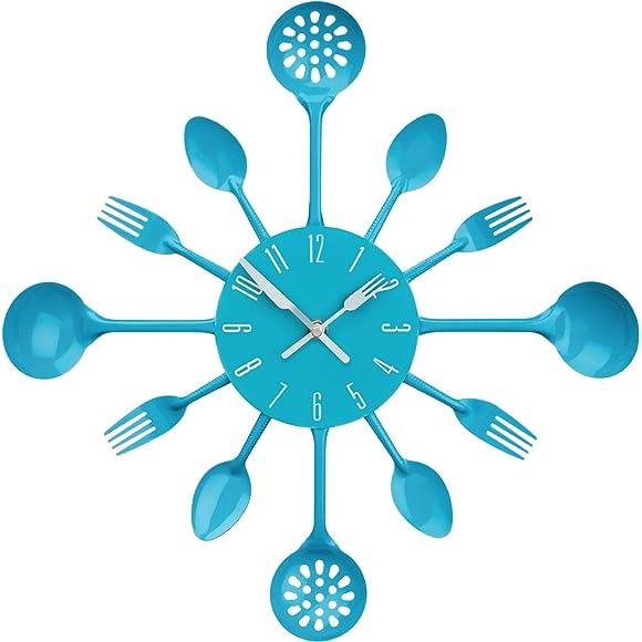 Premier Housewares Blue Cutlery Wall Clock