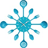 Premier Housewares 2200667 Horloge Murale Couverts en Métal Bleu