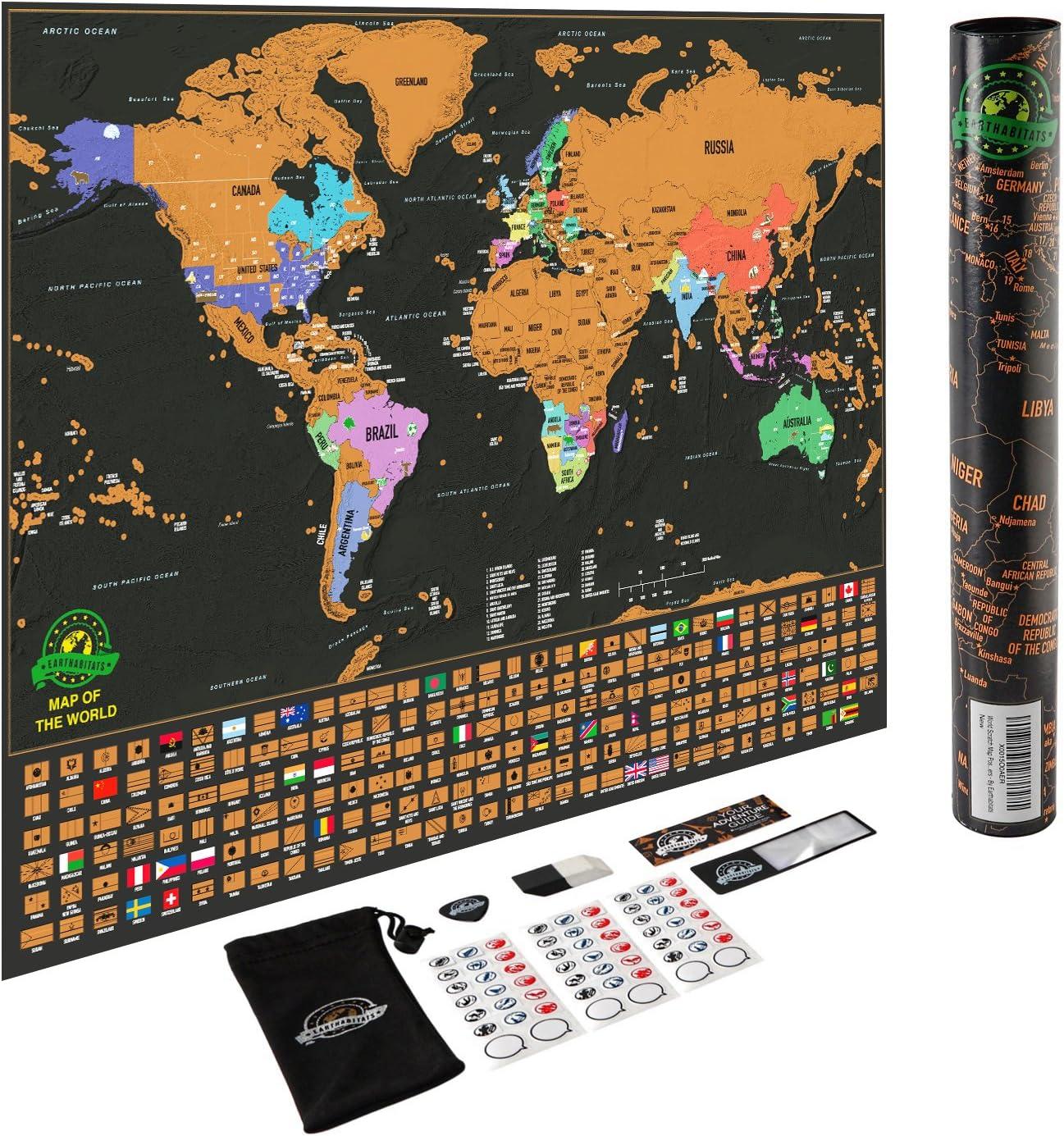 Mapa del mundo para rascar - Con los estados de EEUU y con banderas, registra tus aventuras. Incluye rascador y pegatinas para recordar, el regalo perfecto para viajeros, de Earthabitats (TM): Earthabitats: