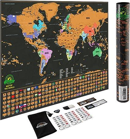 Mapa del mundo para rascar - Con los estados de EEUU y con ...