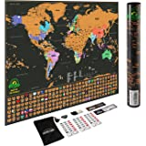 Scratch Off Map of The World – Deluxe Travel Map with US States and Country Flags, Full Accessories Set, Most Vibrant Colors, Tracks Where You Have Been, Perfect Gift for Travelers, by Earthabitats