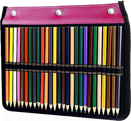 YOUSHARES - Estuche para lápices de 3 anillos, 54 ranuras, estuche organizador de papelería compatible con carpeta estándar de 3 anillas para lápices de colores, bolígrafos de colores (rojo): Amazon.es: Oficina y papelería