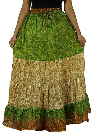 Indianbeautifulart Puro Vestido de Falda Acampanada Sari Craft ...