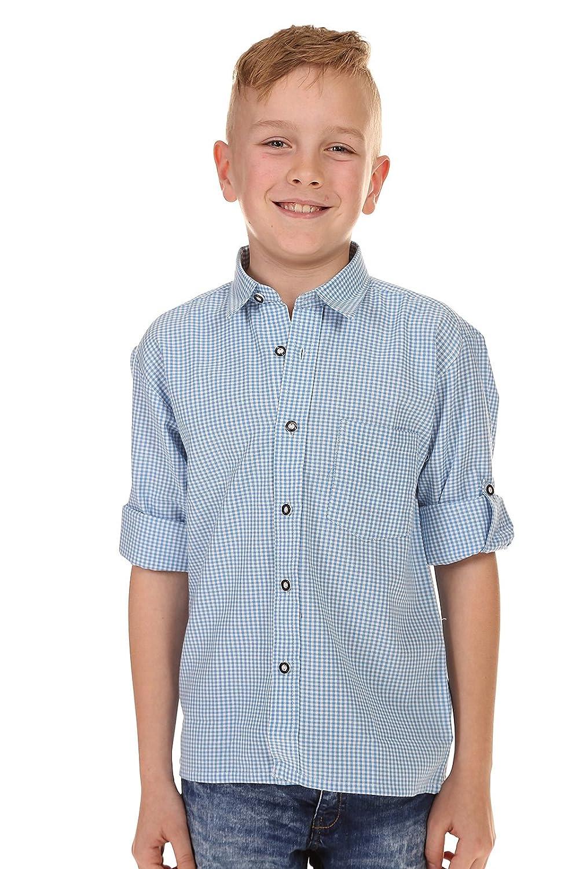 Isar-Trachten Kinder Hemd Krempelarm 48300 Hellblau Ederer