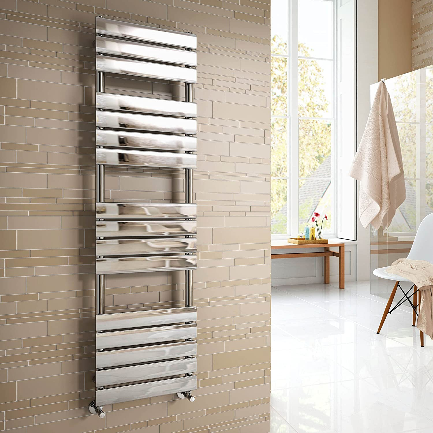 Vicenza Designer Flat Chrome Heated Bathroom Towel Rail Radiator 1600 X 450  Mm: IBathUK: Amazon.co.uk: Kitchen U0026 Home