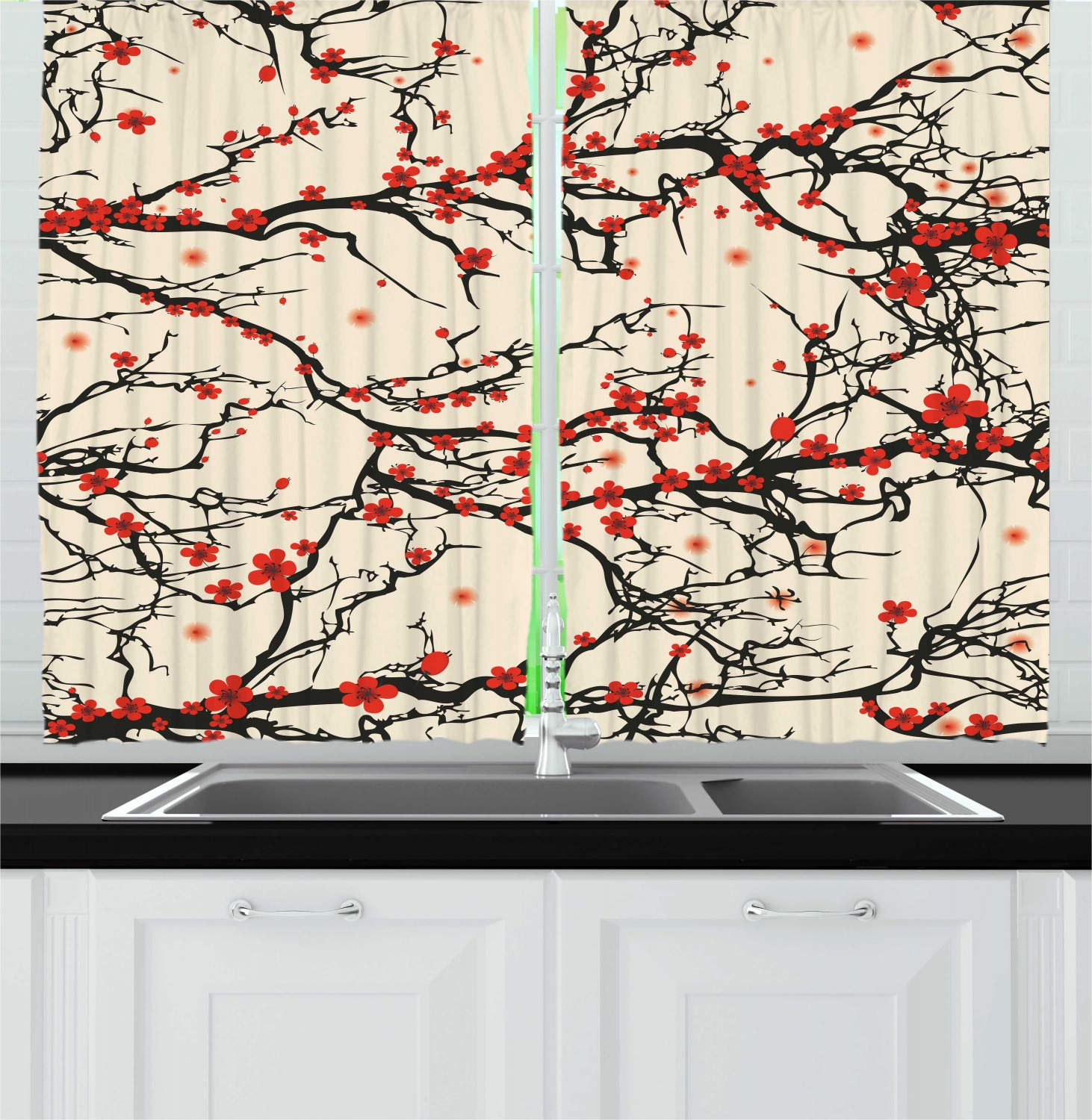 Ambesonne Japanese Kitchen Curtains, Asian Nature Cherry Blossom Sakura Branch Flowers Art Print, Window Drapes 2 Panel Set for Kitchen Cafe, 55 W X 39 L Inches, Cream Vermilion and Dark Brown