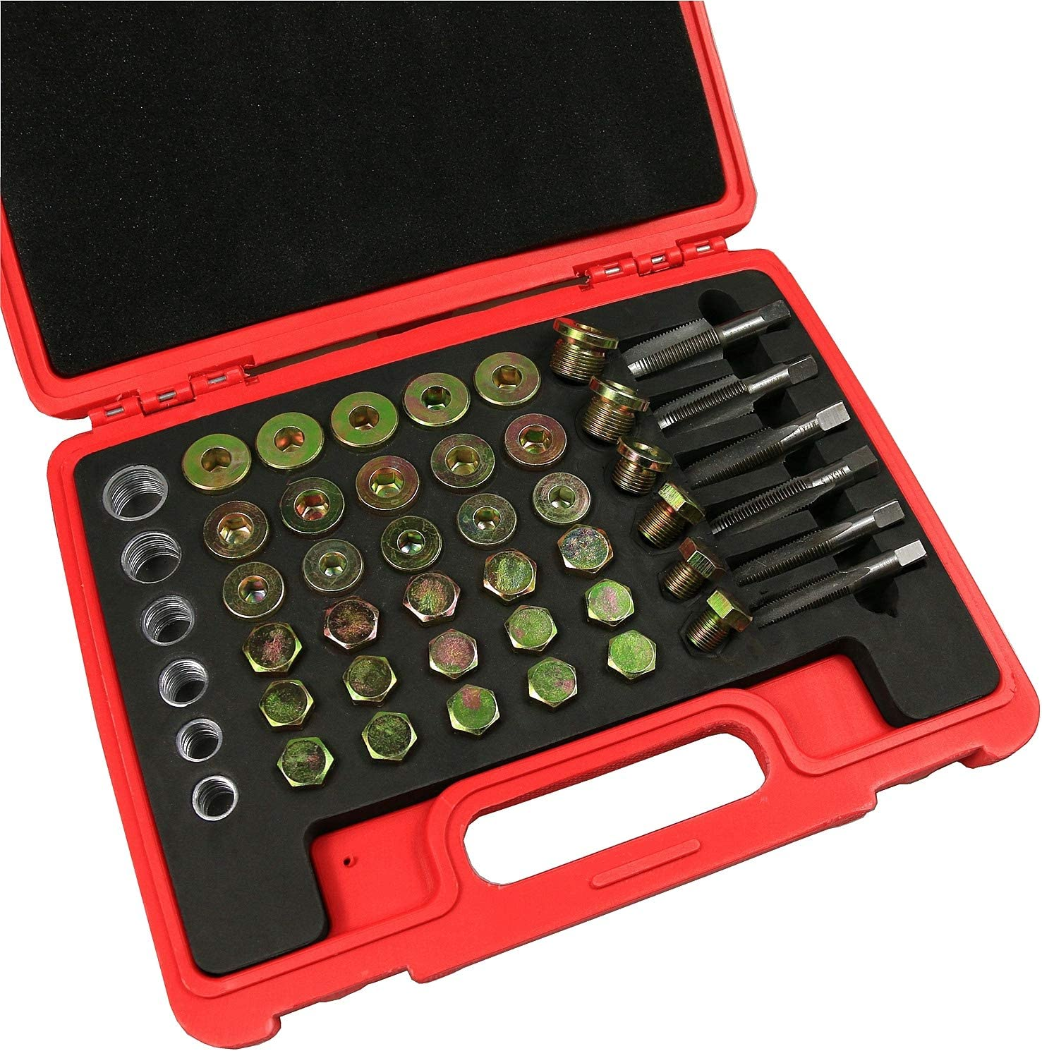 BestsQ 114pcs Oil Pan Drain Sump Plug Key Thread Repair Tool Kit Set Drain Plug with Carry Case