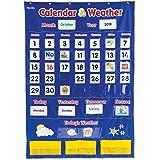 "Learning Resources Calendar & Weather Pocket Chart, Classroom Organization, Homeschool Supplies, School & Classroom Supplies, 136 Piece,Multi-color,30 3/4"" x 44 1/4"", Ages 3+"