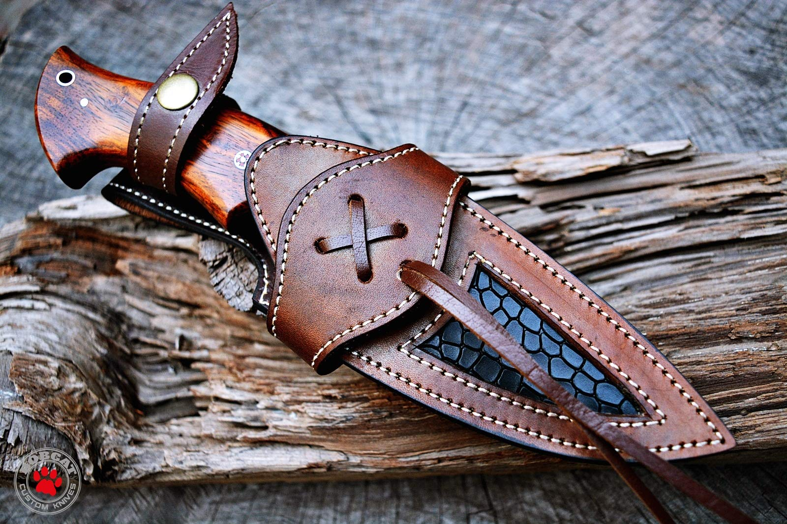 Custom Handmade Hunting Knife Bowie Knife Damascus Steel Survival Knife EDC 10'' Overall Walnut Wood with Sheath by Bobcat Knives (Image #7)