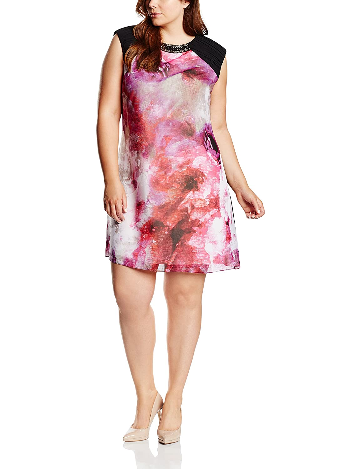 Little Mistress Damen Kleid Blurred Floral Print Embellished Neck
