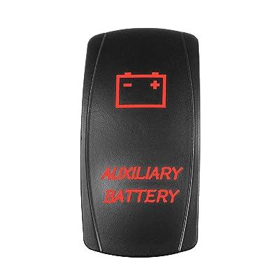 STVMotorsports Laser Backlit Rocker Switch Auxiliary Battery 20A 12V On/Off LED Light (RED): Automotive