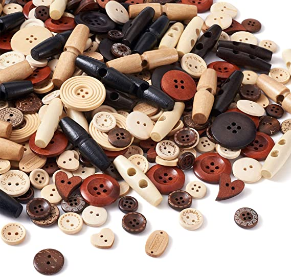 200Pcs DIY Wooden Sewing Button 2 Hole/&4 Hole Round for Clothing Accessories