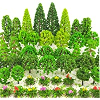 BLEBRDME 60 Pieces Model Trees 1.36-6 inch Mixed Model Tree Train Scenery Architecture Trees Trees for DIY Crafts…
