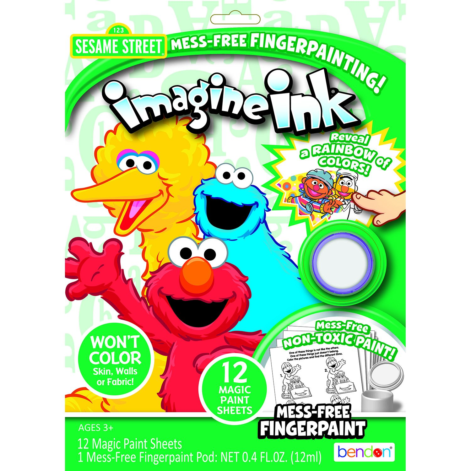 Amazon.com: Bendon Sesame Street Imagine Ink Mess-Free Fingerpaint ...