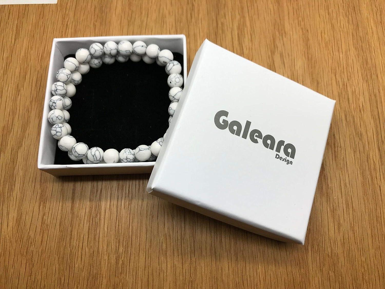 Noir et Blanc Pierres Naturelles Bracelet Chakra pour Homme et Femme Lot de 2 Bracelet de Yoga Galeara Bracelet de perles Bouddha