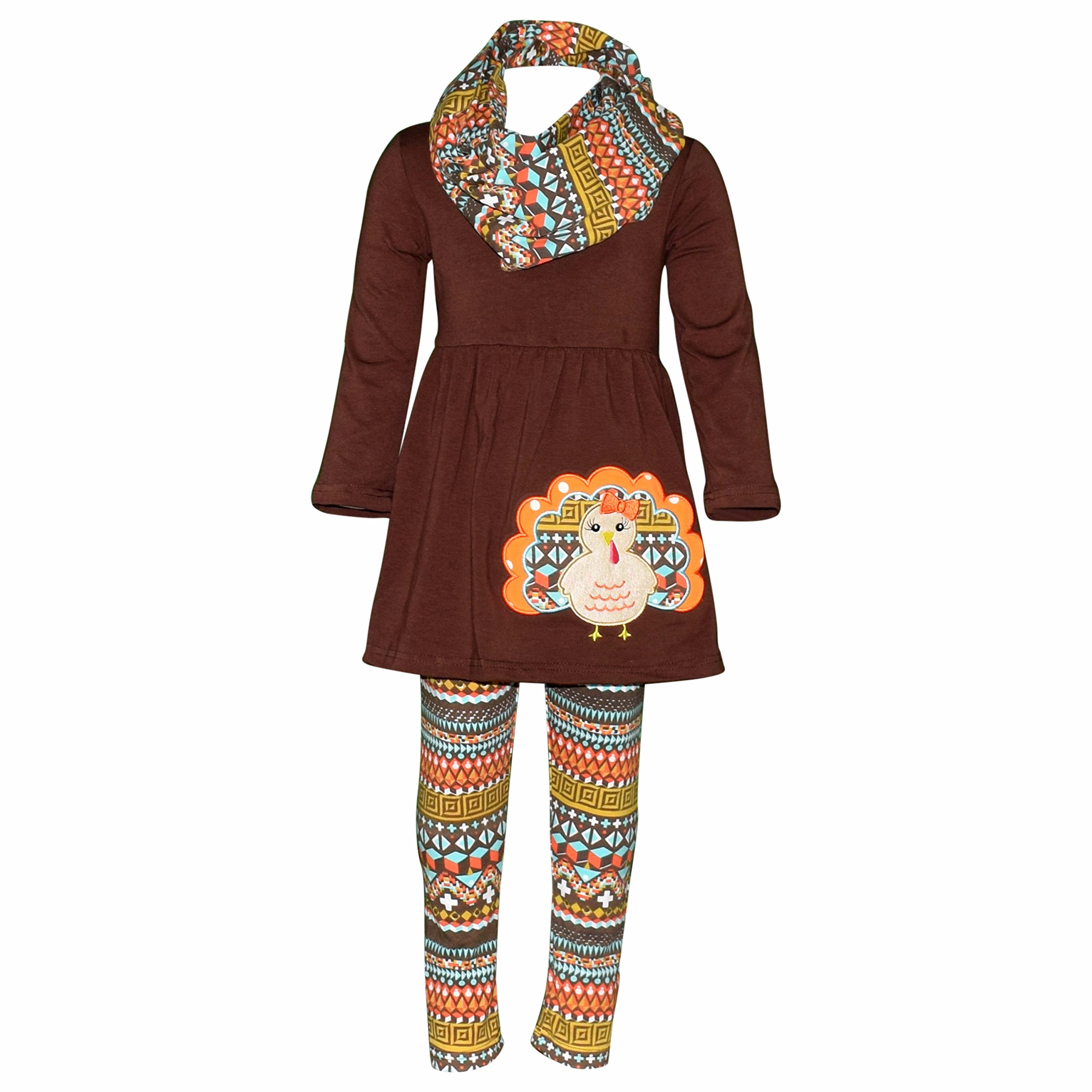 Unique Baby Girls 3 Piece Colorful Aztecan Thanksgiving Turkey Legging Set (4t/M, Brown)