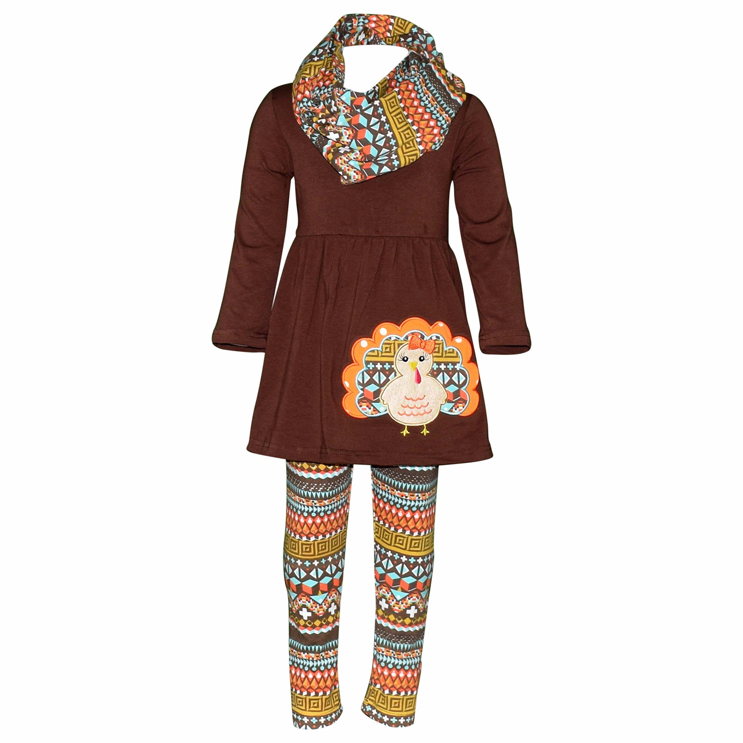 Unique Baby Girls 3 Piece Colorful Aztecan Thanksgiving Turkey Legging Set (7/XXL, Brown)