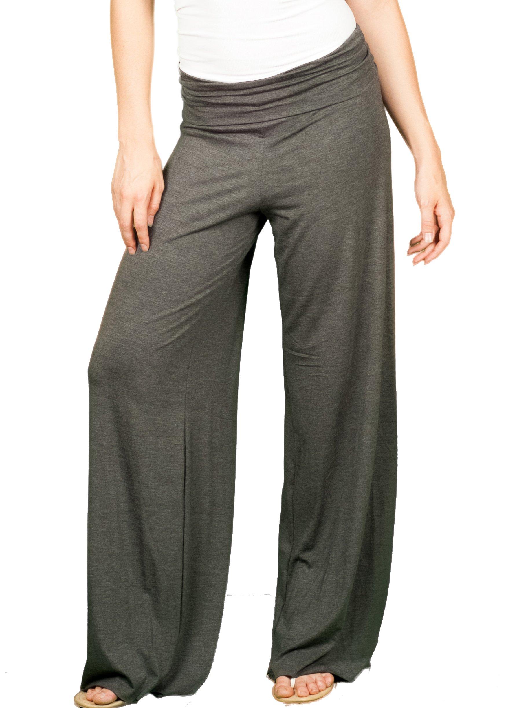 TL Women's Made in USA Comfy Wide Leg Long Boho Maternity Palazzo Gaucho Pants CHARCOAL, Large