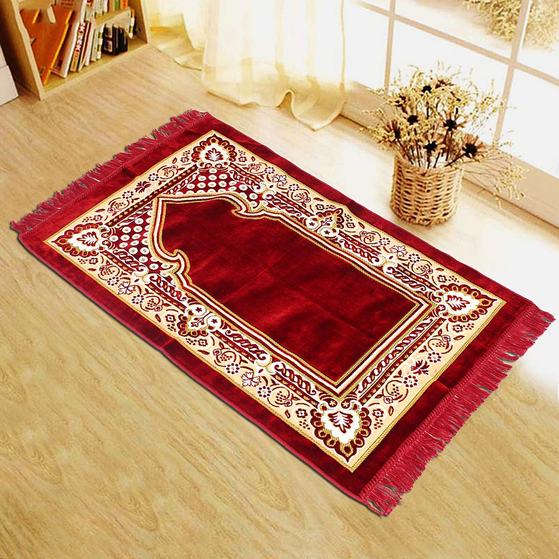 Buy Addy Namaz Islamic Muslim Musallah Velvet Prayer Mat Rug Red Online At Low Prices In India Amazon In