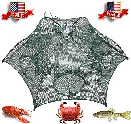 Foldable Crab Net Trap Cast Dip Cage Fishing Bait Fish Minnow Shrimp /& Crawfish