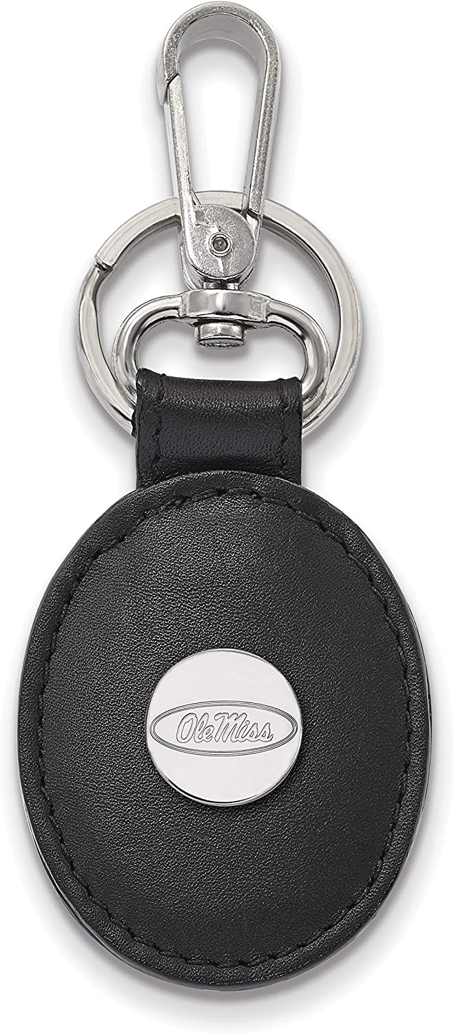 UMS Sterling Silver LogoArt Official Licensed Collegiate University of Mississippi Black Leather Oval Key Chain