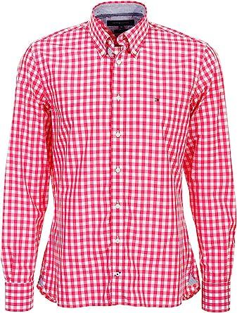 Tommy Hilfiger Brian Custom Fit - Camisa de cuadros para hombre, color rojo y blanco rojo / blanco Medium: Amazon.es: Ropa y accesorios