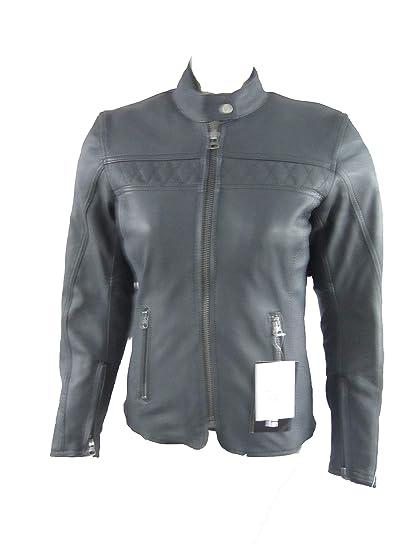 Chaqueta Piel mujer con refuerzos para moto biker armour ...