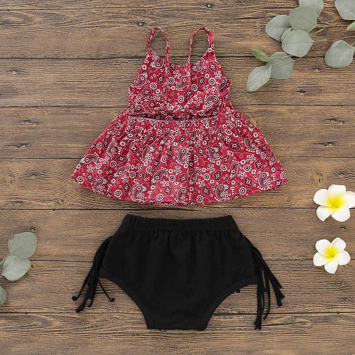 Dot Short Summer Outfits Set Baby Girl Clothes Floral Backless Romper Tassel Top