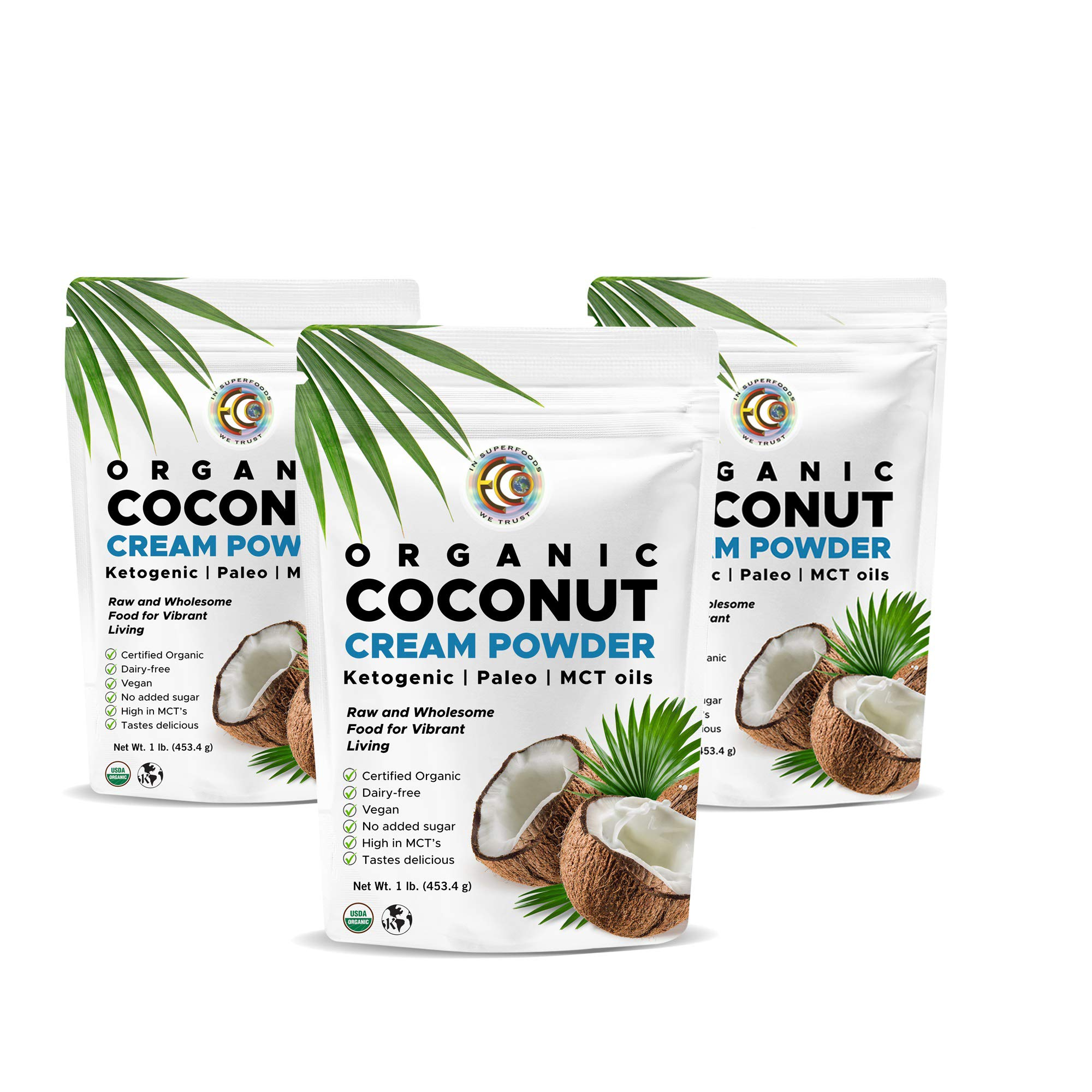 Organic Premium Coconut Milk Powder | Perfect Keto Powdered Coffee Creamer | High in MCT Oil | Vegan | No Added Sugar | Dehydrated | Vegan | Gluten and Dairy Free - (3 Pack) by Earth Circle Organics