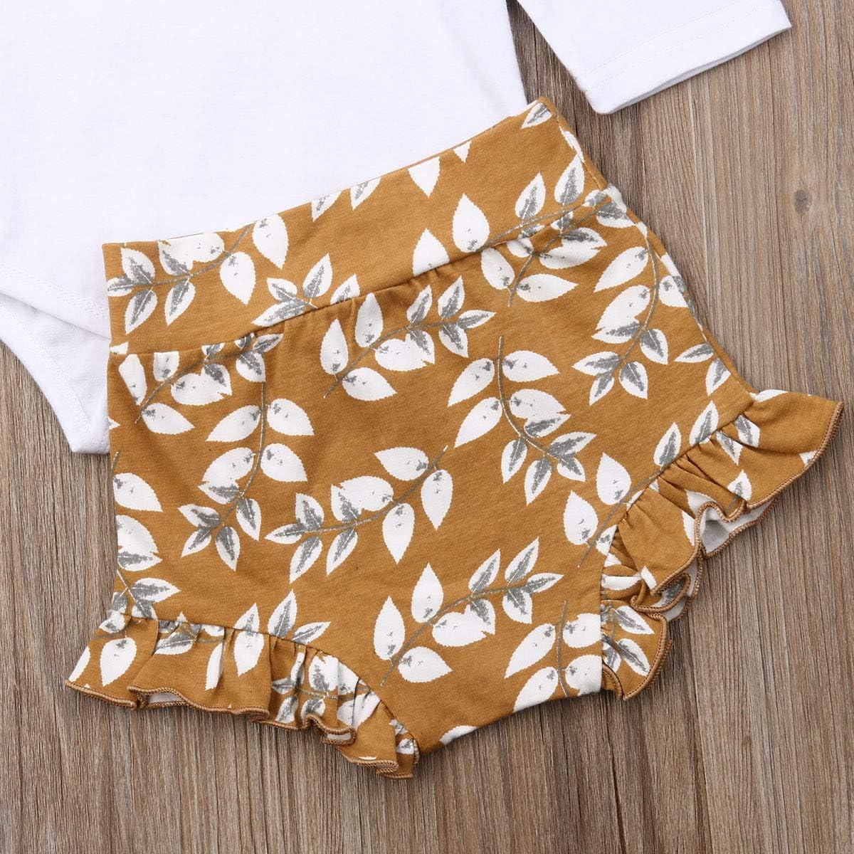 Newborn Infant Baby Girls Black Short//Long Sleeve Romper Top Leopard Print Ruffled Shorts Pants Headband 3Pcs Outfit