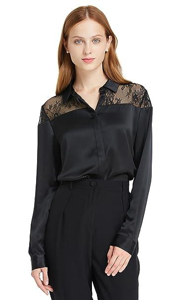 Lilysilk Camisa Mujer con Encaje Exquisito Blusa Mujer Mangas Largas 100% Seda de Mora Natural