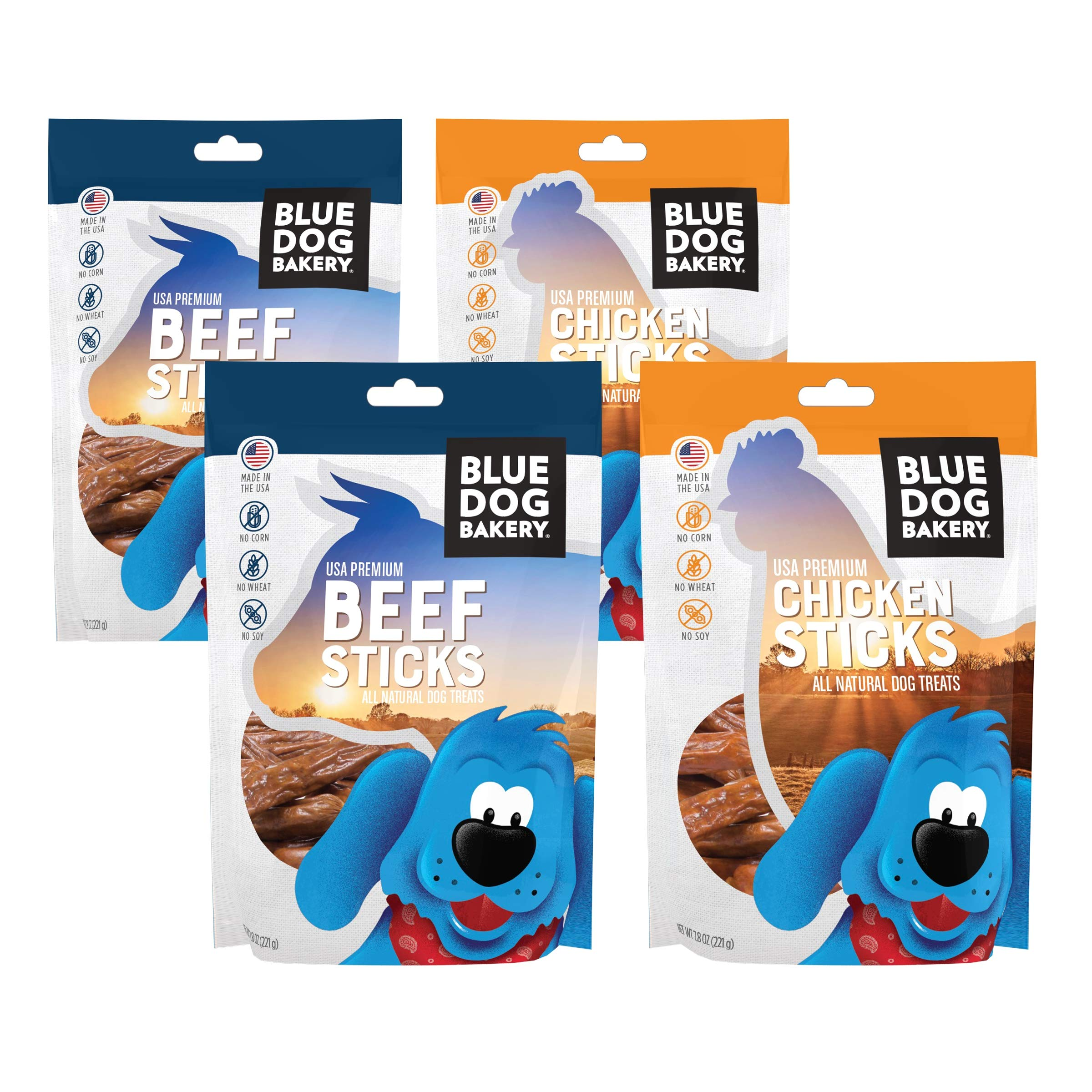 Blue Dog Bakery Natural Dog Treats, 7.8oz 4 Pack, Grain Free, USA Premium Beef and Chicken Sticks