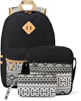 Plambag Canvas Backpack Set 3 Pcs, Casual School Backpack for Women Teen Girls