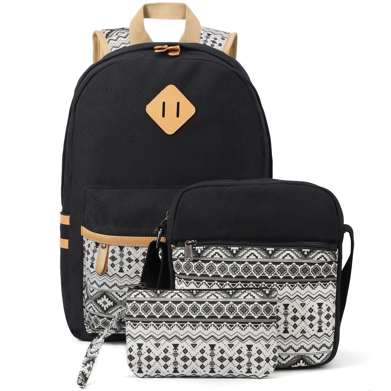 plambag canvas backpack set 3 pcs casual lightweight