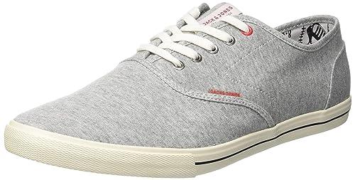 14e2ff22683109 JACK   JONES Herren JJSPIDER Canvas Light Grey Mel Sneaker Grau Melange)