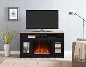 "Ameriwood Home Carver Electric Fireplace TV Stand for TVs up to 60"" Wide, Black"