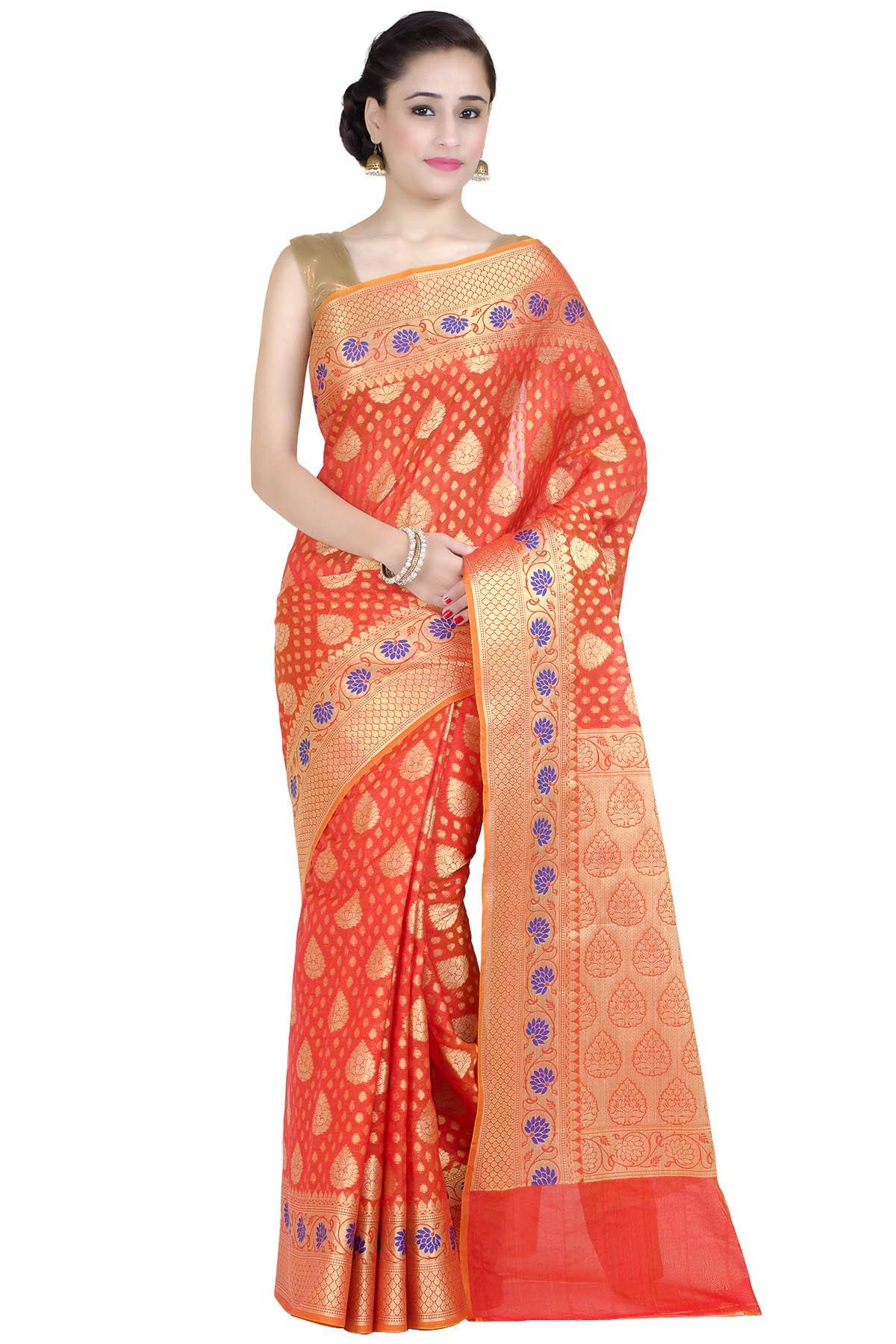 Chandrakala Women's Orange Cotton Silk Banarasi Saree(1267ORA)