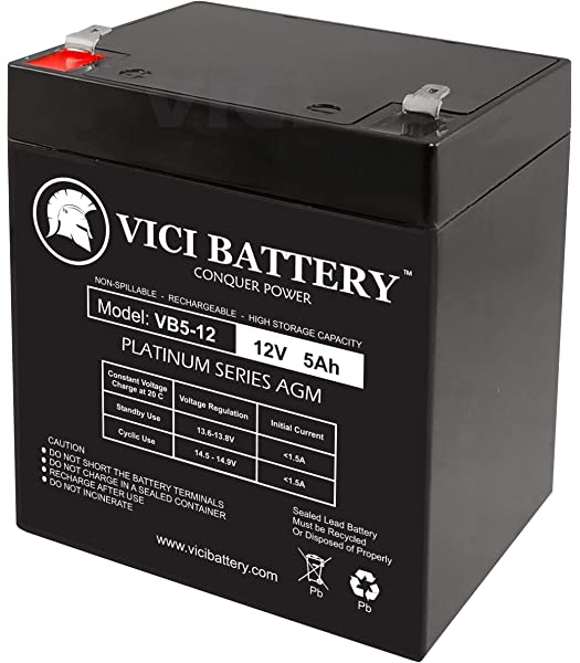 VICI Battery 12V 5AH SLA Battery Replaces pc1250 ub1250 ca1240 bp5-12 es4-12 2 Pack Brand Product