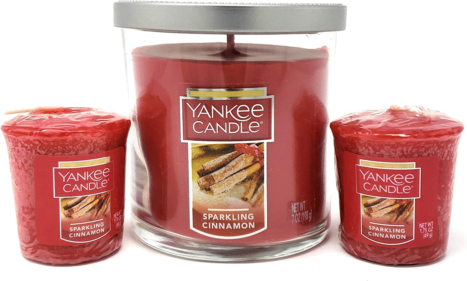 Yankee Candle Sparkling Cinnamon Scented Single-Wick Small Tumbler Candle and 2 Sparkling Cinnamon Votive Candles Bundle Set of 3