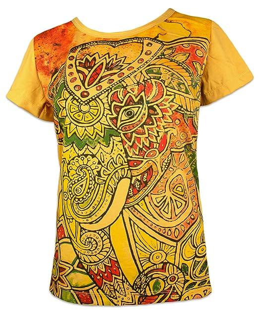 Mirror Camiseta Mujer Elefante Psicodélico - Talla S M L Mariposa Espíritu Hinduismo Budismo Yoga Ganesha: Amazon.es: Ropa y accesorios