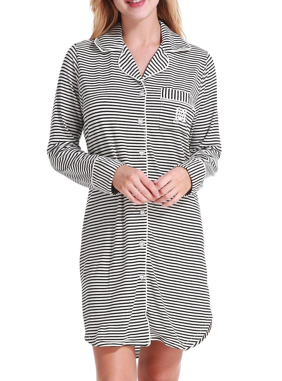 3eb39a54b1 Nightgown Women s Long Sleeve Nightshirt Boyfriend Sleep Shirt Button-up  Dress Lapel Collar Pajamas Top at Amazon Women s Clothing store