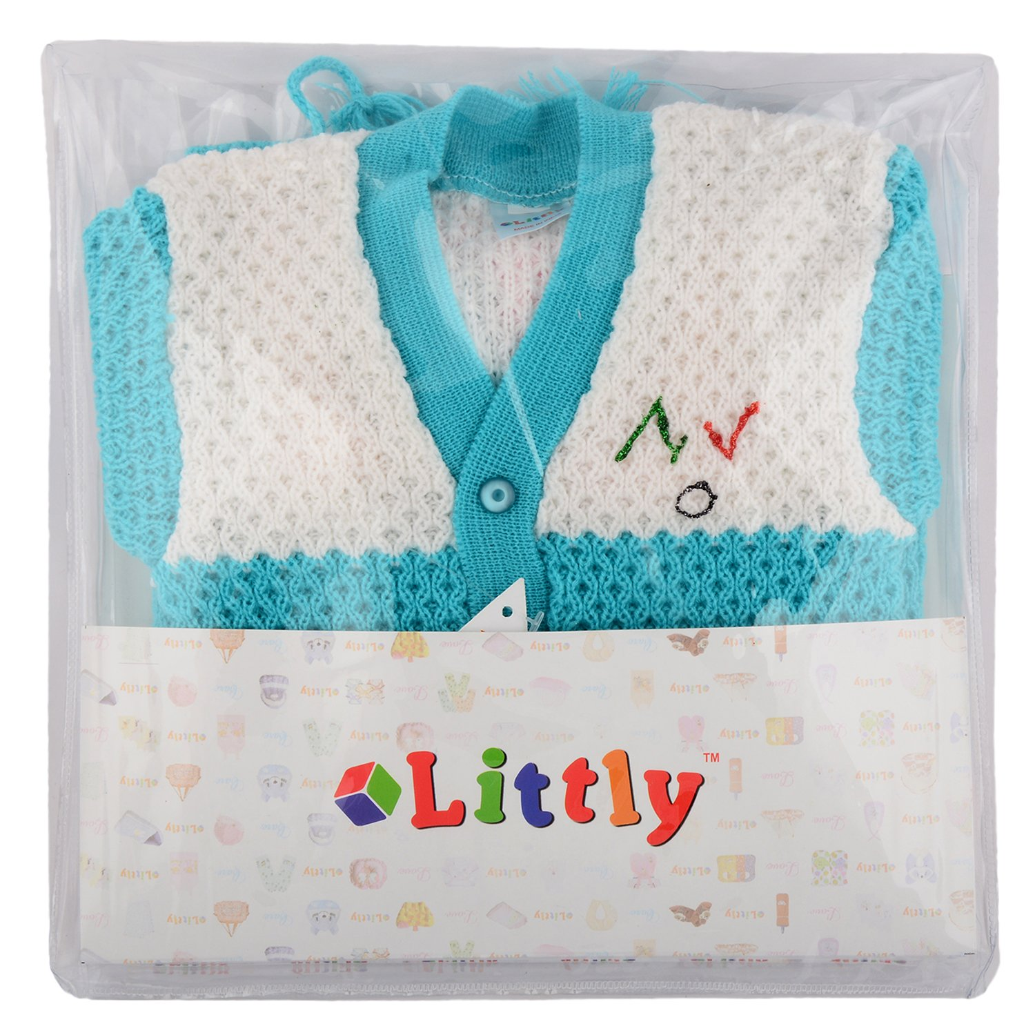 d94847024cc4 Littly Woollen Knitted Front Open Baby Suit (4 pc)  Amazon.in ...